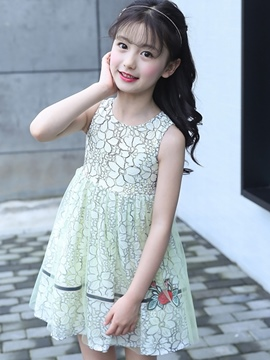 Ericdress Mesh Floral Printed A-Line Sleeveless Girl's Casual Dress