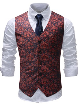 Ericdress Red Floral Printed Mens Dress Vest