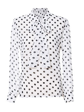 Ericdress Polka Dots Print Tie Front Womens Top