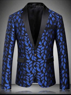 Ericdress Lip Printed Notched Lapel One Button Mens Casual Ball Blazer