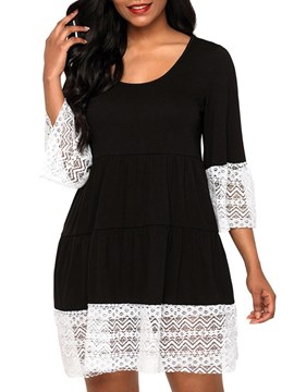 Ericdress Western Hollow Patchwork Lace A-Line Dress