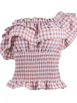 Ericdress Short Sweet Plaid Ruffle Sleeve Womens Top