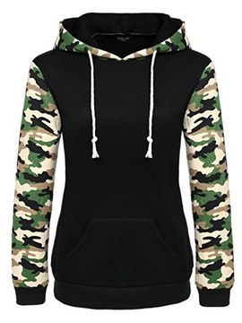 Ericdress Camouflage Print Patchwork Long Sleeve Cool Hoodie
