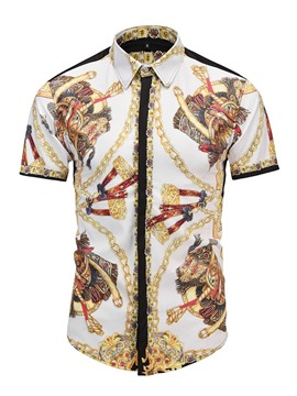 Ericdress White Floral Printed Short Sleeve Slim Mens Shirts