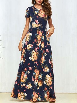 Ericdress Floral Print Pullover Western Maxi Dress