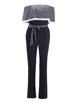 Ericdress Off the Shoulder Wide Leg Stripe Women's Jumpsuit