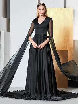 Ericdress A Line Long Sleeve Black V Neck Evening Dress