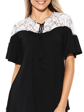 Ericdress Lace Patchwork Color Block Short Sleeve Womens Top