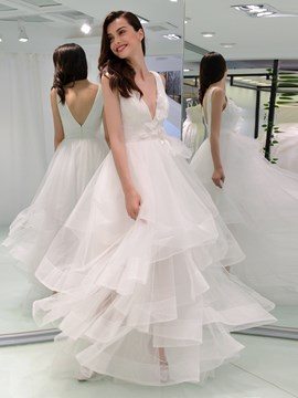Ericdress 3D Floral Tiered Wedding Dress