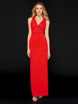 Ericdress Sheath V Neck Beaded Red Evening Dress