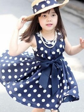Ericdress Polka Dots Printed Bowknot Sleeveless Girl's Casual Dress