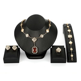 Ericdress Retro Ruby Jewelry Set