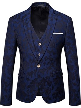 Ericdress Blue Printed Mens 3 Pieces Casual Ball Suits