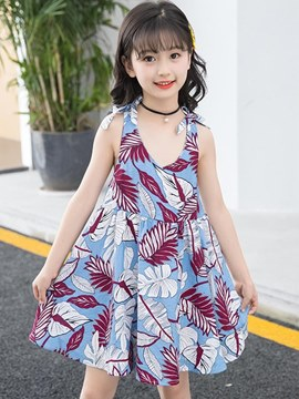 Ericdress Plant Printed Backless Spaghetti Strap Girl's Beach Dress