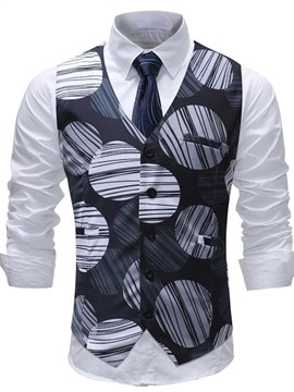 Ericdress Geometric Striped Printed Mens Casual Vest