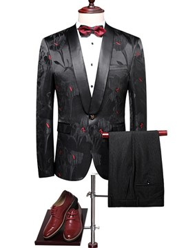 Ericdress Black Printed One Button Blazer & Pants Mens Ball Suits