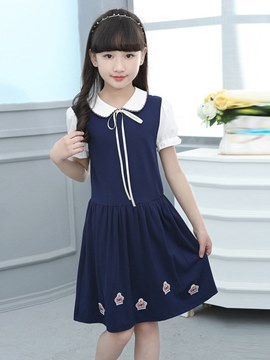 Ericdress Peter Pan Collar Lace Up Floral Printed Girl's Casual Dress