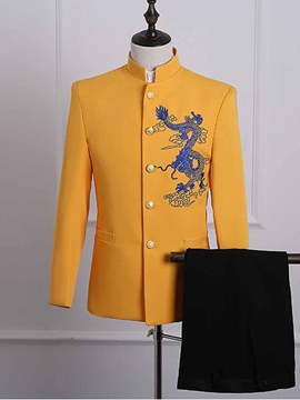 Ericdress Yellow Embroidery Mens Party Ball Suits