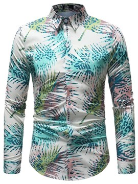 Ericdress Plant Printed Lapel Mens Casual Shirts
