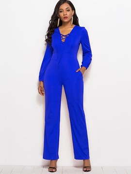 Ericdress Lace-Up Plain Women's Jumpsuit