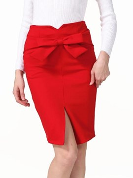 Ericdress Bodycon Bowknot Split Woment's Skirt