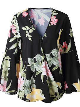 Ericdress Floral Notch-V Loose Long Sleeve Womens Top