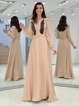 Ericdress A Line Long Sleeve Sequin Long Evening Dress