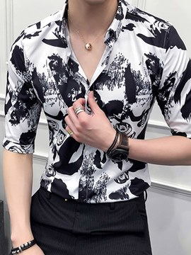 Ericdress Printed Slim Fitted Lapel Half Sleeve Mens Casual Shirts