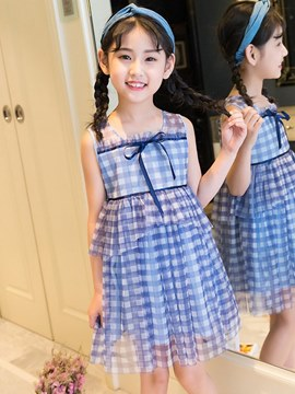 Ericdress Plaid Ruffles Mesh Square Neck A-Line Girl's Casual Dress