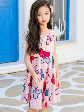 Ericdress Backless Printed Cartoon A-Line Sleeveless Girl's Casual Dress