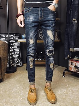 Ericdress Dark Bule Skinny Mens Ripped Pencil Jeans