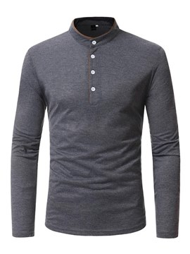 Ericdress Plain Slim Stand Collar Button Designed Mens Long Sleeve T Shirts