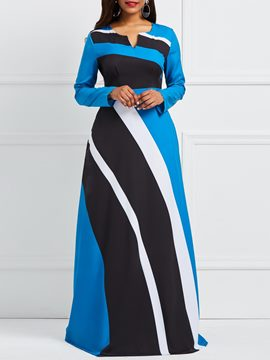 Ericdress Color Block Stripe Women's Maxi Dress