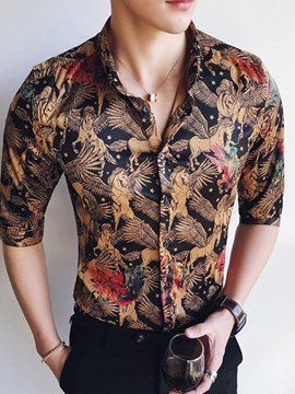 Ericdress Floral Printed Slim Fitted Half Sleeve Mens Casual Shirts