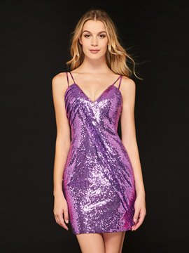 Ericdress Sheath Spaghetti Straps Sequin Cocktail Dress