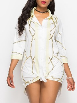 Ericdress White Print Single-Breasted Western Casual Dress