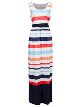 Ericdress Stripe Bowknot Lace-Up Casual Dress