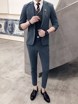 Ericdress Plain 3 Pieces Blazer Pants Vest Mens Suits