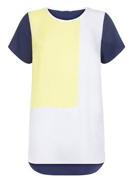 Ericdress Roll-up Color Block Patchwork Plus-Size Womens T Shirt