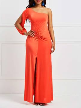 Ericdress Orange One-Shoulder Oblique Collar Maxi Dress