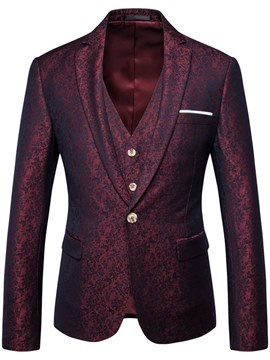 Ericdress Red Printed Mens 3 Pieces Casual Ball Suits