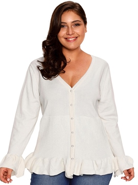 Ericdress Flare Sleeve Button Plus Size Sweater