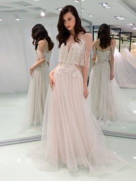 Ericdress Appliques Beading Tassel Sexy Wedding Dress