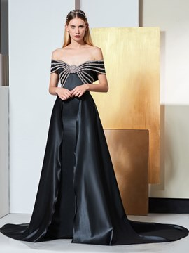 Ericdress A Line Off The Shoulder Beaded Black Evening Dress