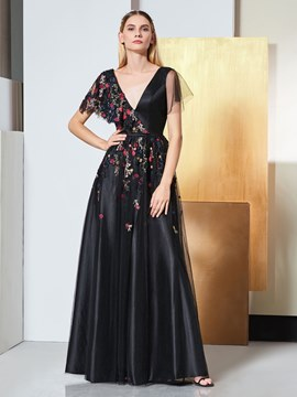 Ericdress A Line V Neck Short Sleeve Applique Black Evening Dress