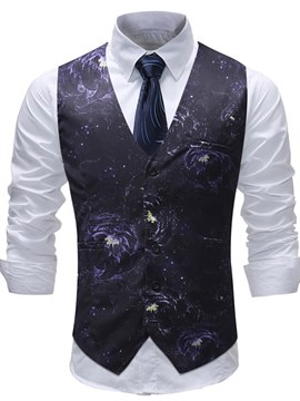 Ericdress Floral Printed Single Brasted Mens Vest