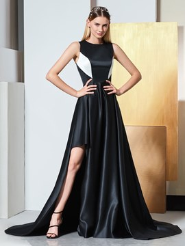 Ericdress A Line Split-Side Black And White Evening Dress