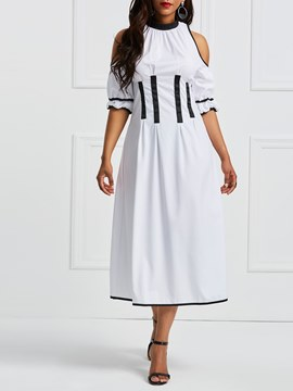 Ericdress White Hollow Patchwork Simple Casual Dress
