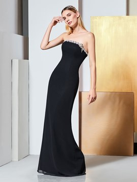 Ericdress Sheath Beaded Strapless Black Evening Dress