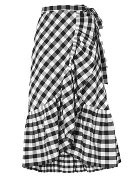 Ericdress Plaid Asymmetrical Ruffles Mid-Calf Women's Skirt